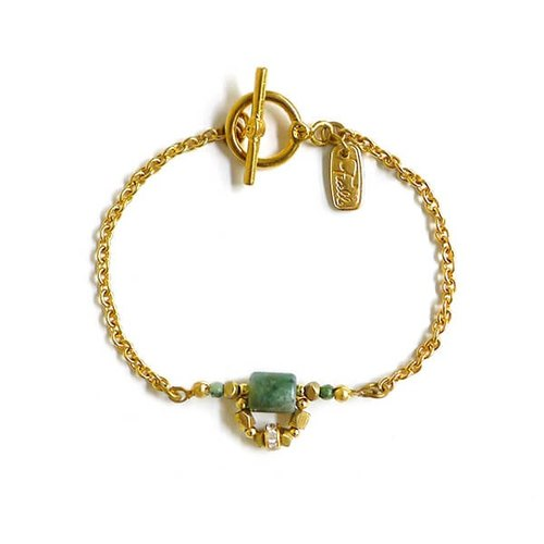Ficelle | handmade brass natural stone bracelet | [water agate] month's prayer