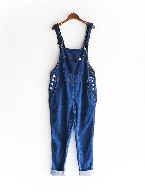 River Hill - indigo sea summer day antique doll river dream jumpsuit denim suspenders trousers overalls oversize vintage neutral