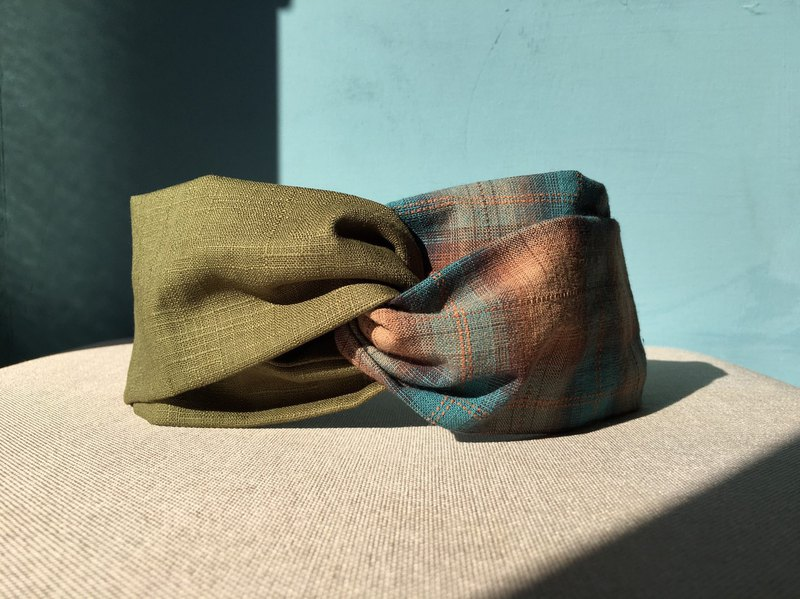 Classic hair band / blue plaid - green / first dyed fabric / limited edition