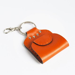 Orange Leather Coin Purse Key Ring