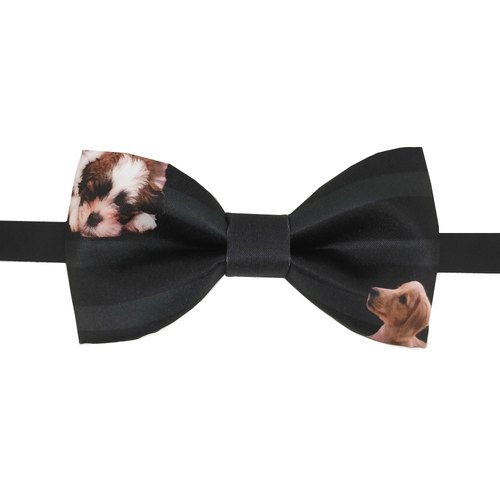 Cute dog bow tie, black bow tie, Cutie Dog bowtie, bow tie, Men's bowtie, necklace, handmade, limited handmade, gift, custom tie, dream design studio, DBT15080