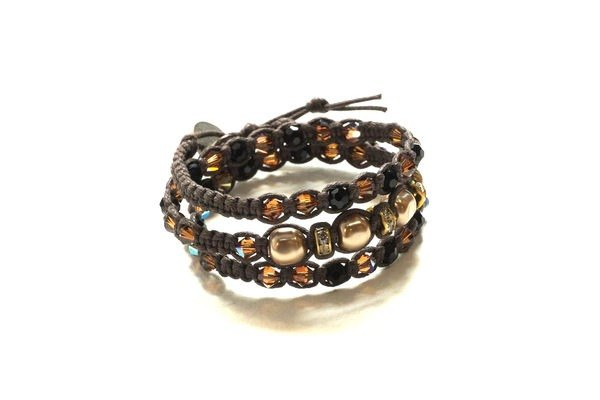 Handmade jewelry natural stone design woven series - brown pearl crystal bracelet