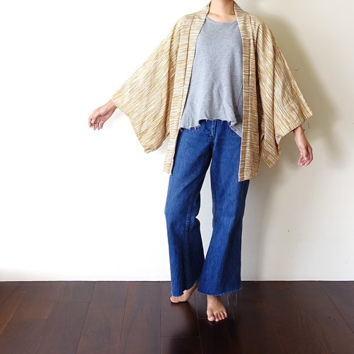 BajuTua / vintage / gold wheat grain in Japan and style wool jacket haori kimono