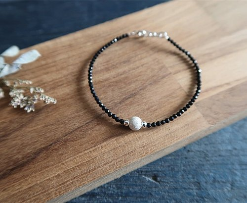Natural stone・Bracelet Black agate Diamond face Drilling sand 925 sterling silver【SZB1719】