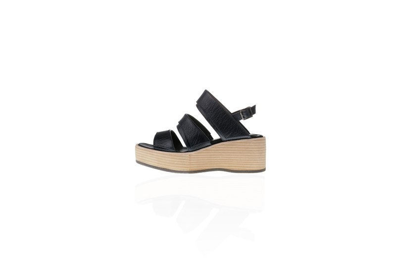 ZOODY / Sedimentary platform / handmade shoes / strap platform sandals / dark blue black