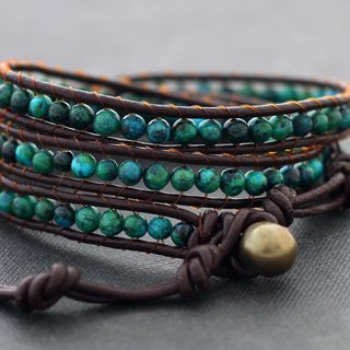 Leather Wrap Bracelets Stone Unisex Boho Malachite Beaded Leather