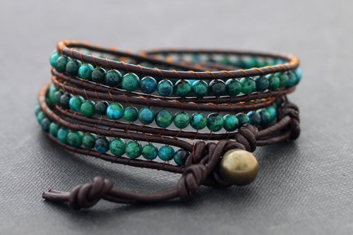 Leather Wrap Bracelets Stone Unisex Boho