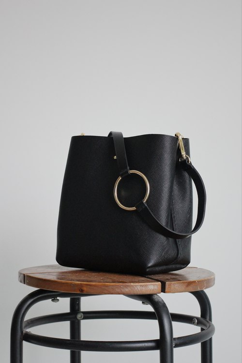 Saffiano Black Leather Bucket Bag