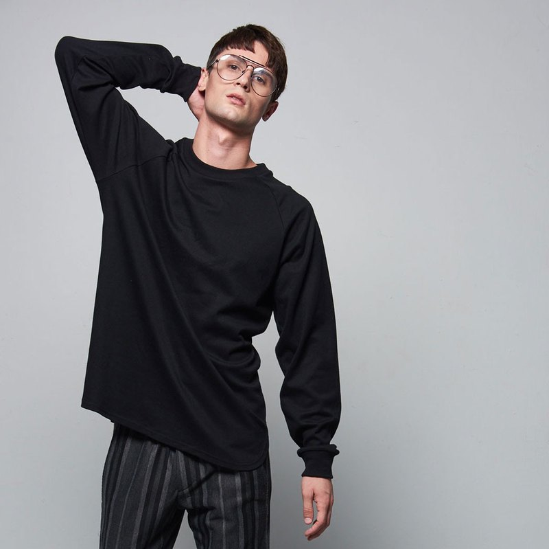 Stone @ s Basic Long-sleeved Tee In Black / Black Sleeve T-shirt