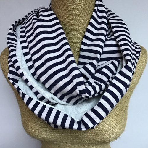 Double-sided cotton circle scarves / neck Wai Circle / Infinity Scarf (blue and white striped light gray + 514softgrey) / Christmas scarves