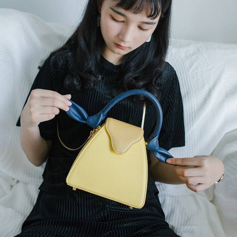 Cooked egg yellow shepherd leather bag five color optional macarons shoulder bag Messenger bag hand bag