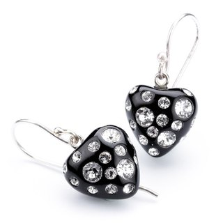 【Dutch Zsiska】 strawberry core series Swarovski diamond heart ear hook earrings
