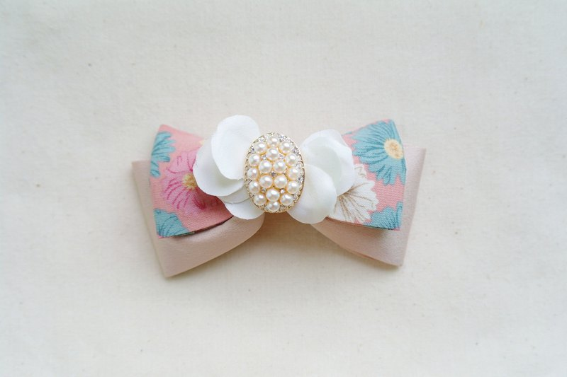 Classical Elegant Floral Pearls Ribbon Bow Hair Clip Accessories,Gift For Her