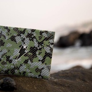 Supervek camouflage stripes (green) hand-made paper wallet / wallet / short clip Tyvek green material waterproof tear