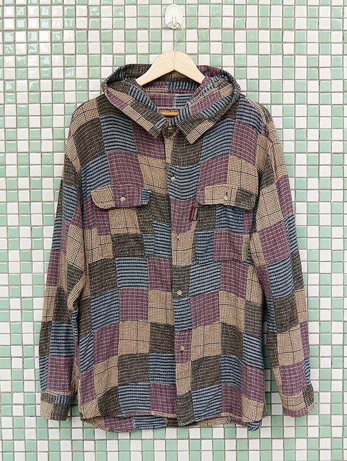 ♦♦ ◈ invincible children music vintage Japanese input line ◈ ♦♦ hysteria classic vintage plaid collar stitching plus cotton hooded shirt antiques