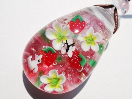 Strawberries and cats Glass Tenpo ball pendant cat