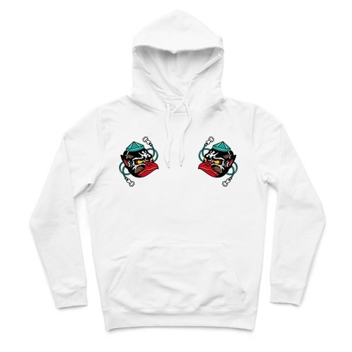 Small Tengu mask - White - Hooded T-shirt