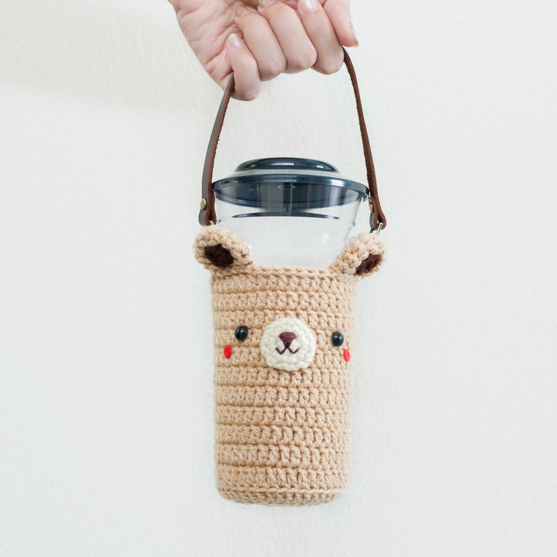 Crochet Beverage Holder, Coffee Cozy with Leather Strap | The Bear No.3