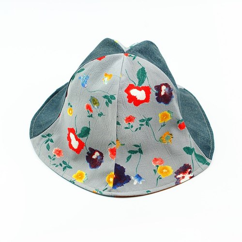 Calf Village Calf Village Handmade Double-sided Hat Customized Sunshade Hooded Trolley Valentine's Day Gift Touching [Scarlet Glory} Gray [H-341] Rare Cub
