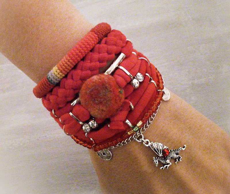 Unique Red Bohemian Bracelet Pack Dragon Charm Chinese Coins Jewelry