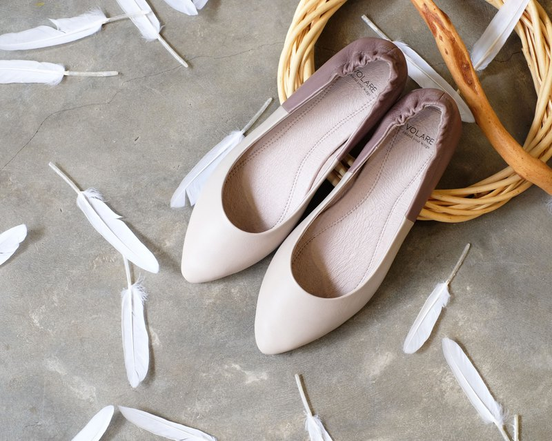 TWO TONE two-tone leather pointed flat shoes doll shoes ballet shoes