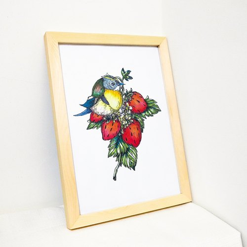 (Hankuang) copy of original hand-painted art painting - Strawberry chirp