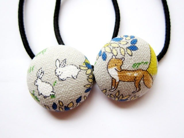 Hand-made cloth buttons hair headband ring fox and rabbit