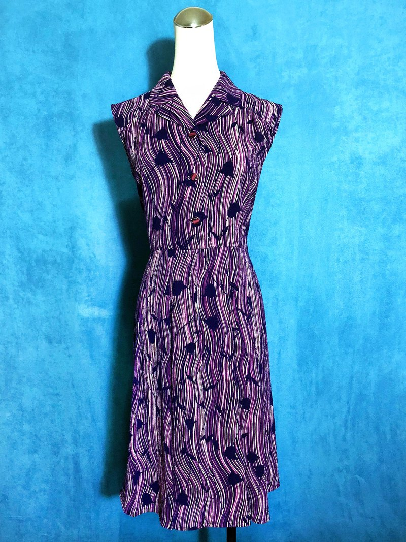 Purple Ripple Flower Sleeveless Vintage Dress / Bring back VINTAGE abroad