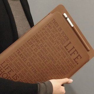 iPad pro 10.5 / 12.9 leather case Inspiration quote brown with pen slot