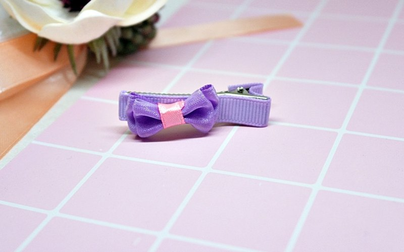 Girls Hair Accessories => Purple Purple Bow - Hair Clip Series - (Mail Free) #女孩儿头饰