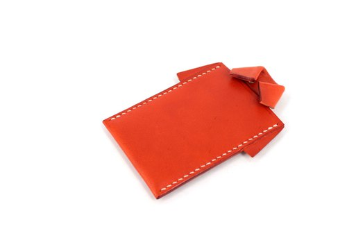 MOOS X WASOME ORIGAMI Vegetable tanned leather hand-sewn ID holder, card holder (orange)