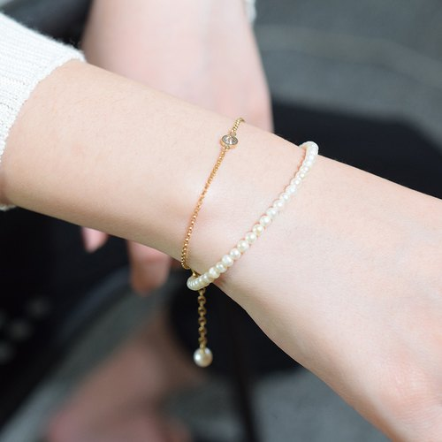 Lightweight two-ring pearl bracelet VISHI natural freshwater pearl zircon necklace United States imported 14K gold temperament simple female