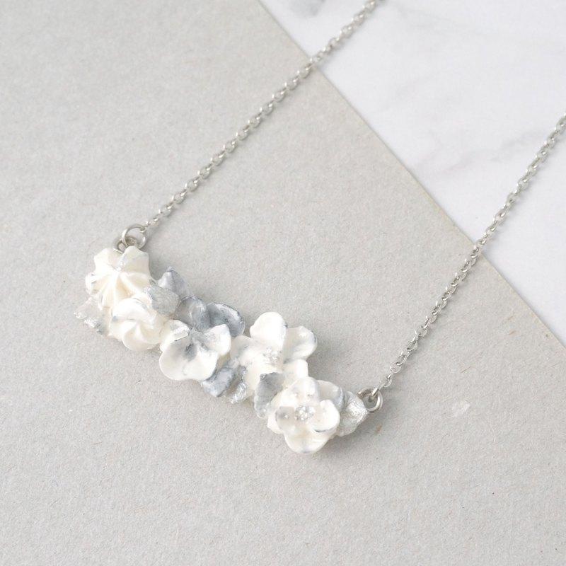 大理石紋手工裱花項鍊 銀色款 可客製
