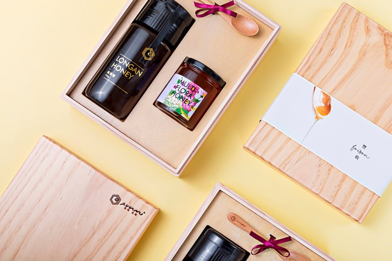 Mid-Autumn Festival gift box l foison honey wood gift box (longan honey. hundred flowers honey. wooden spoon)