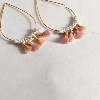 Bujielite- Crochet Gold Tear Drop Hoop Earring_with White thread and mini tassel
