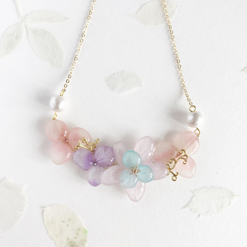Flower jewellery Real flower Necklace Light Purple and Pink 18KGP