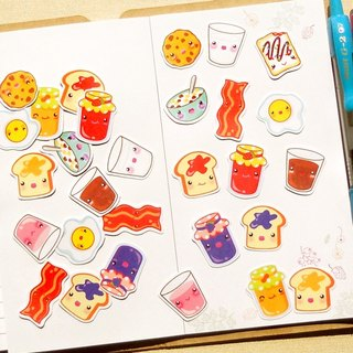 Breakfast Stickers - 30 Pieces - Planner Stickers - Stickers for Planner