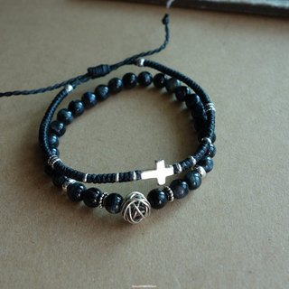 ~ M ~ + Bear courage and strength / cross + Black Tiger Eye / silver bracelet / 925 silver bracelet /