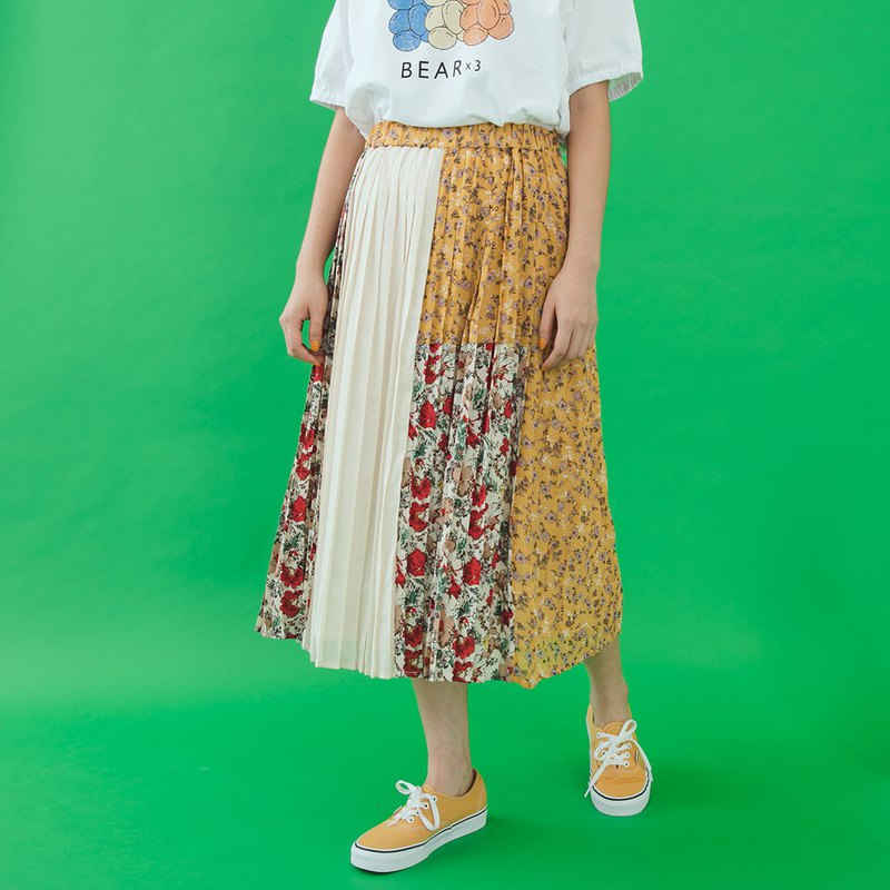 [E-WEAR] Garden Trio stitching 100 fold skirt - two colors