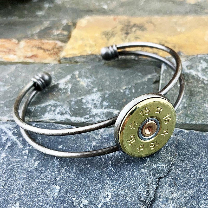 Bullet Designs-16 Gauge real shotgun bullet bracelet / adjustable / silver