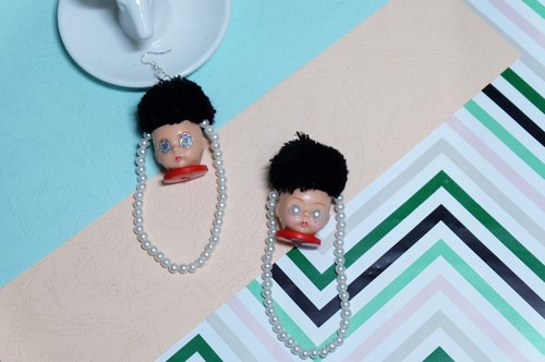Remade Alexanderdoll face earrings / doll face /baby doll/joyful/handmade