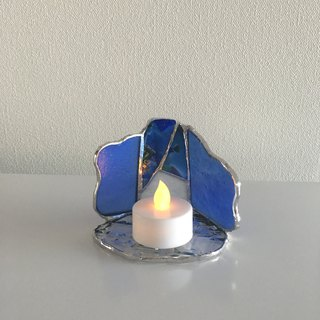 LED Light Holder Candle Night Blue Glass Bay View