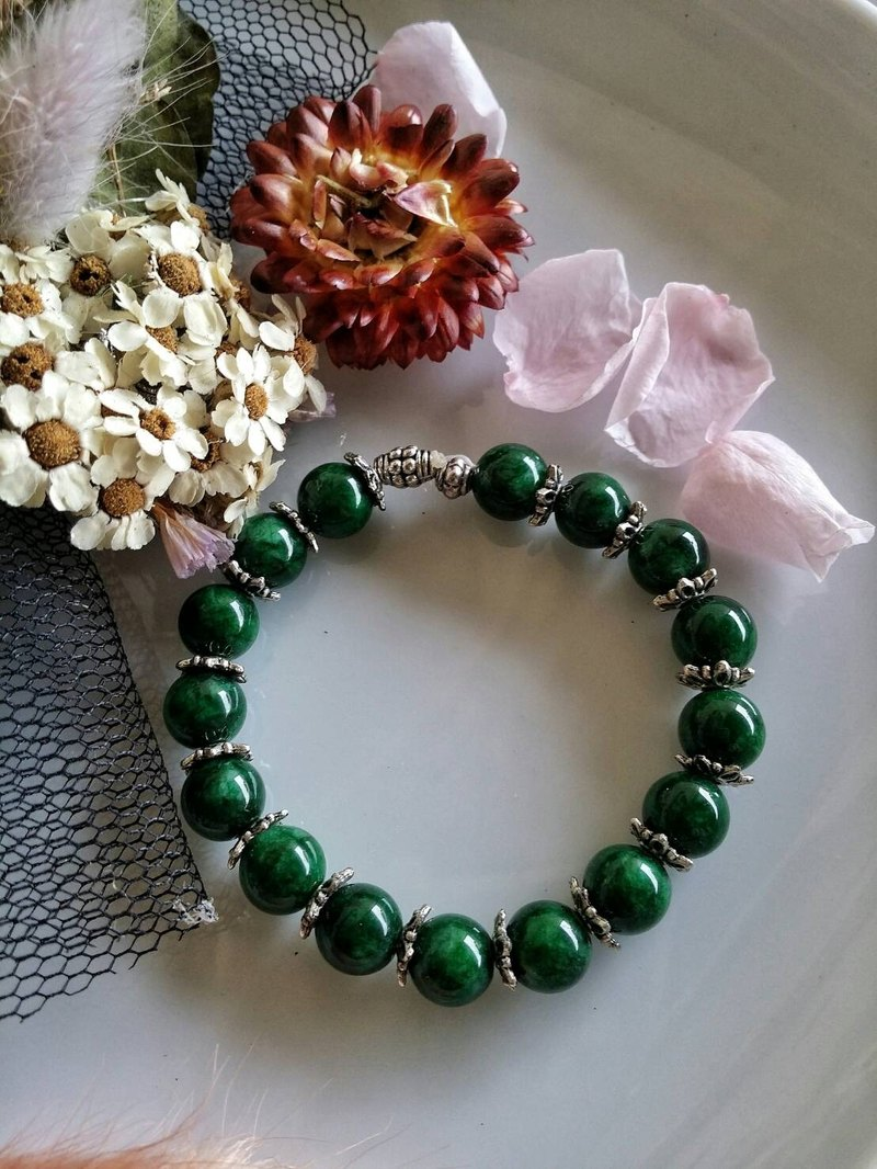 Valentine's Day [green] hand-made X natural stone bracelet