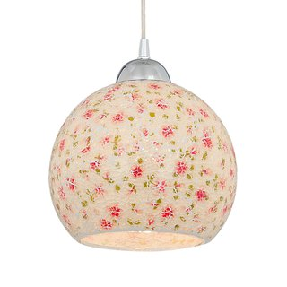 Small floral collage glass single lamp chandelier