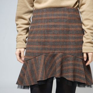 MIT British Check wool fish tail net skirts