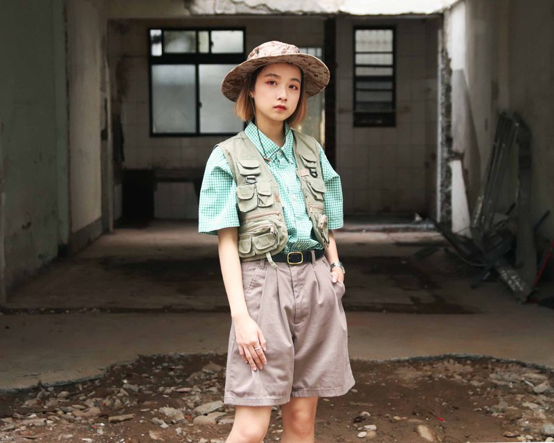 Tsubasa.Y ancient house light brown vintage discount shorts, casual outdoor summer
