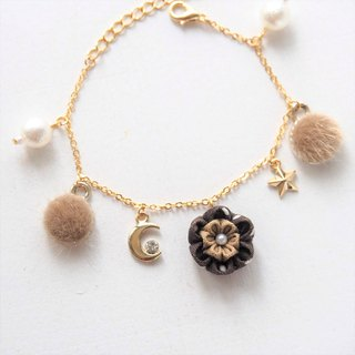 [Peony wearing moon] low-key cute small hair ball cotton pearl custom bracelet つまみ fine work