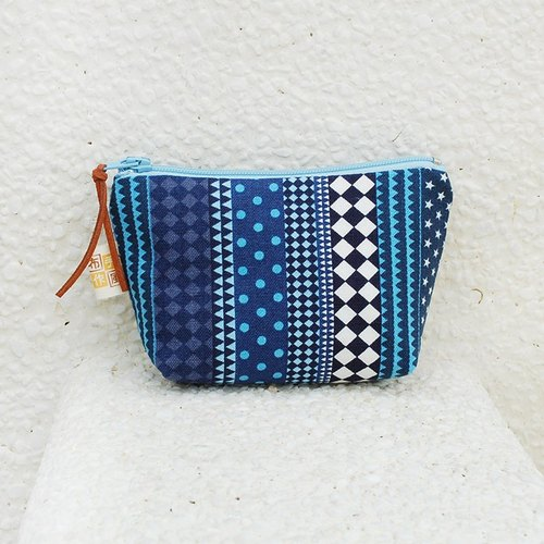 Simple style small pouch _ blue
