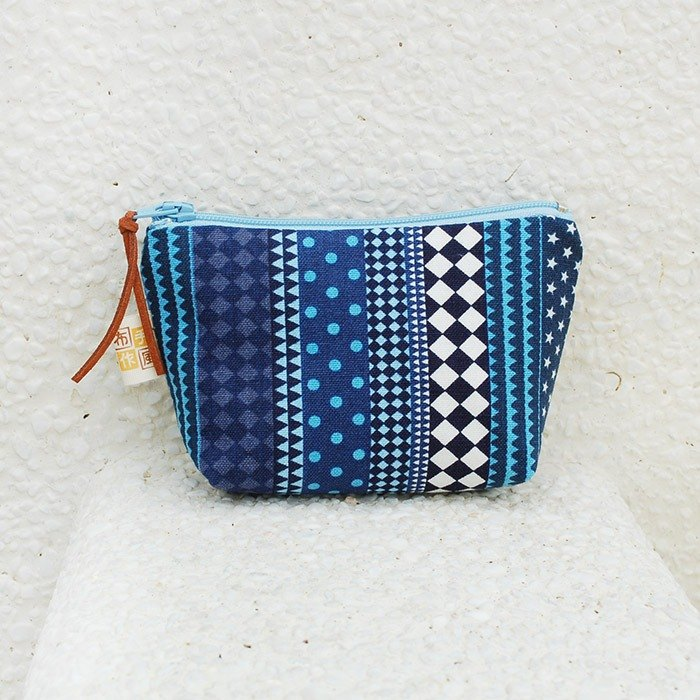 Simple style small storage bag _ blue