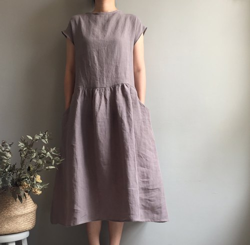 *Breeze Suffolk*Cocoa Grey French Sleeve / Short Sleeve Long Dress 100% Enzyme Washed Linen